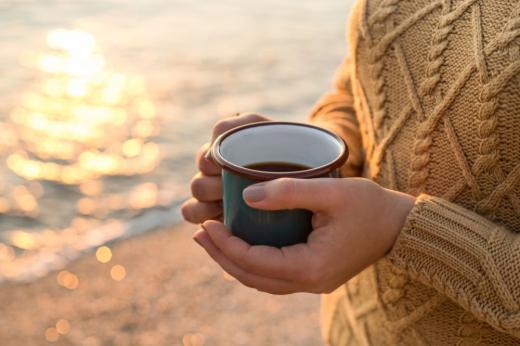 кафе есен чай плаж море