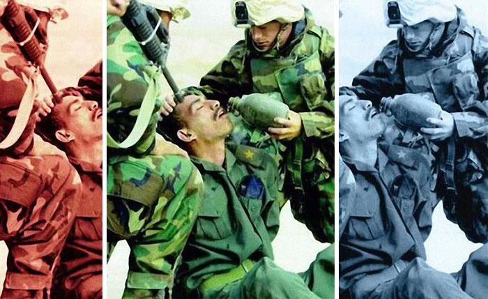 """Американски морски пехотинци от 15-та експедиционна част """"помагат"""" на иракски войник с вода на 21 март 2003 г. в Южен Ирак."""