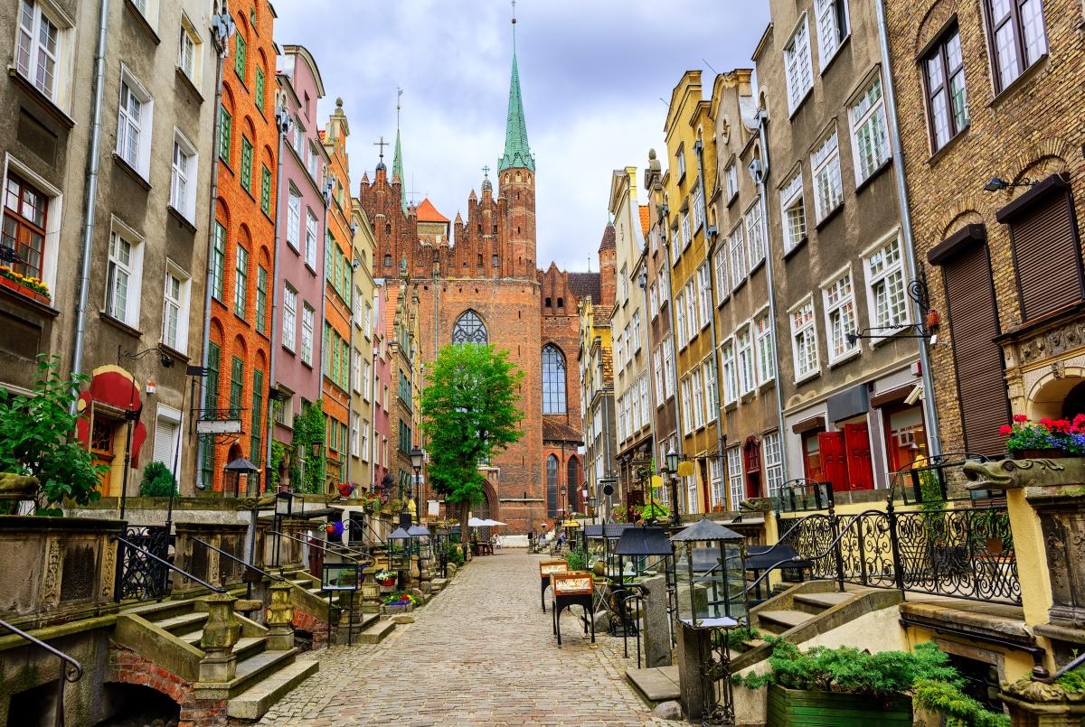 Улицата, на която можете да си вземете кехлибарени изделя в Гданск.