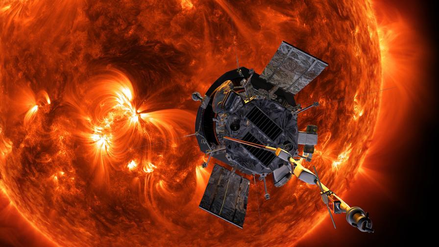 """Илюстрация на сондата """"Паркър"""" на фона на Слънцето"""