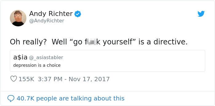 """""""Наистина ли? Тогава """"ходи се ****"""" е закон"""", отговаря в първия момент Анди Рихтер."""