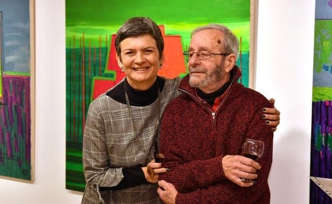 Нина Мирчева и Велин Динев на откриването на изложбата