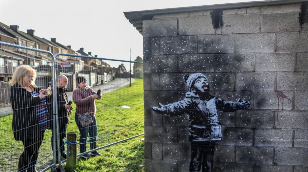 Графити на Банкси върху гараж в Уелс ще бъдат преместени
