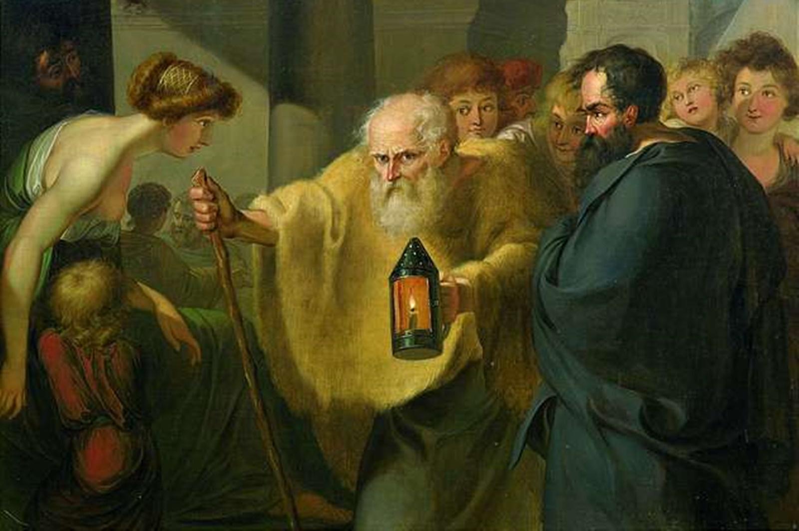 """Според разкази, когато атиняни се допитали до гръцкият философ как да се отърсят от изкушенията на плътта, Диоген просто започнал да мастурбира, а когато го порицали за това, той отвърнал: """"Ех, ако можех да задоволя и глада си като си търкам корема ..."""". Една от най-популярните истории за философа е срещата му с Александър Македонски. Смята се, че когато великият пълководец се спрял и го попитал дали може да му услужи, Диоген отвърнал """"Би ли се дръпнал, че ми закриваш слънцето."""" Когато Платон описал човека като двуного без пера, Диоген оскубал перушината на един петел и го завел в школата му. След този инцидент Платон се видял принуден да добави определението """"и с плоски нокти""""."""