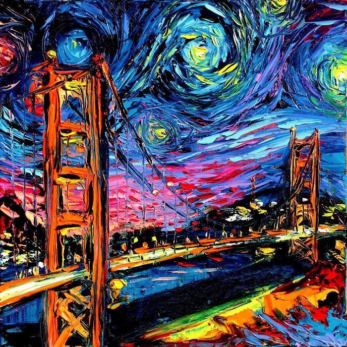 """Така започнах да мисля за всички други неща, които Ван Гог не е виждал и не е можел да нарисува. Великата китайска стена, Пирамидите в Гиза, моста Голдън гейт… и ги нарисувах всички. Започна да става много по-фантастично с времето, започвайки да добавям поп икони и иконични обекти като космическия кораб """"Ентърпрайз"""" от Стар Трек..."""