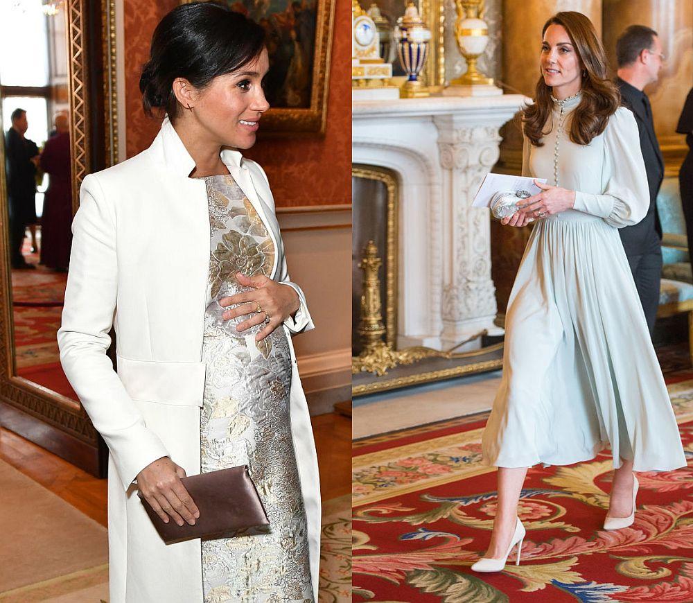 Херцогините Катрин и Меган на приема в Бъкингамския дворец по случай 50 години от обявяването на Чарлз за принц на Уелс