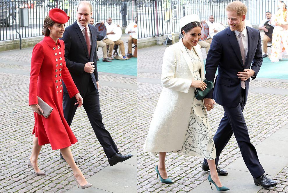 Принц Уилям със съпругата си херцогиня Катрин и принц Хари със съпругата си херцогиня Меган в Уестминстърското абатство