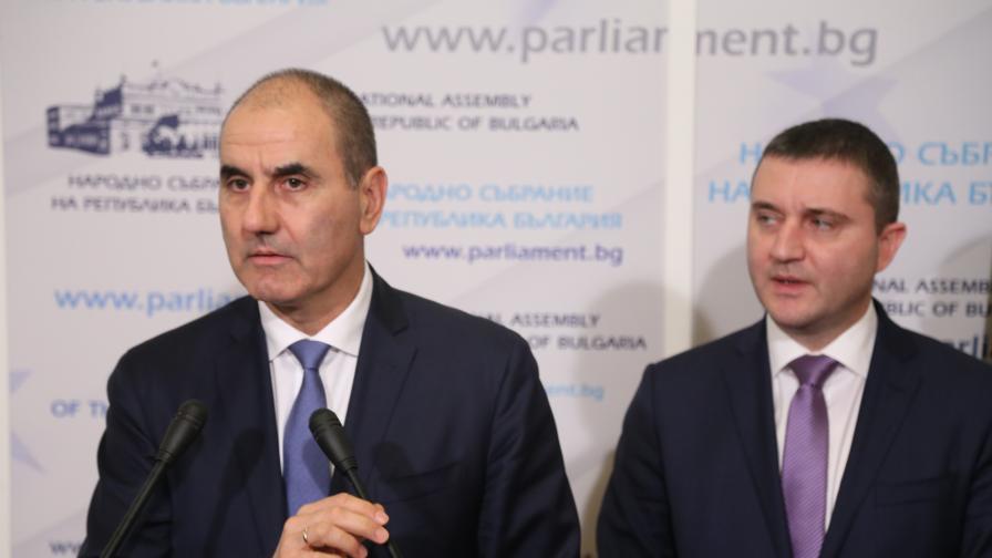 Цветан Цветанов и Владислав Горанов дадоха брифинг в Народното събрание