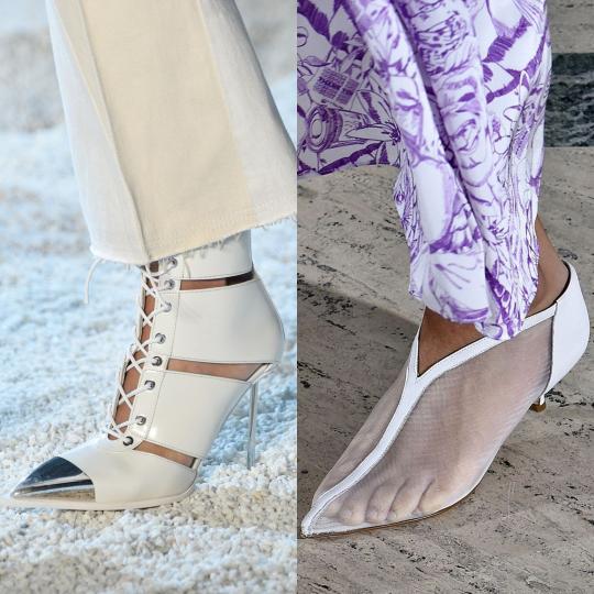 <p><b>Бели</b><br /> Цветът на чистотата и нежността на пика на модната вълна. Бялото се съчетава с лекота с всичко, така, че покупката на бели обувки е инвестиция, не каприз.</p>  <p><b>&nbsp;</b></p>  <p><i>Alexander McQueen, Tibi</i></p>