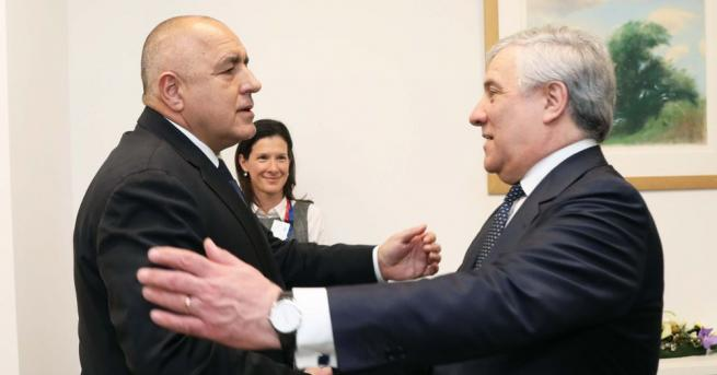 Премиерът Бойко Борисов и председателят на Европейския парламент Антонио Таяни