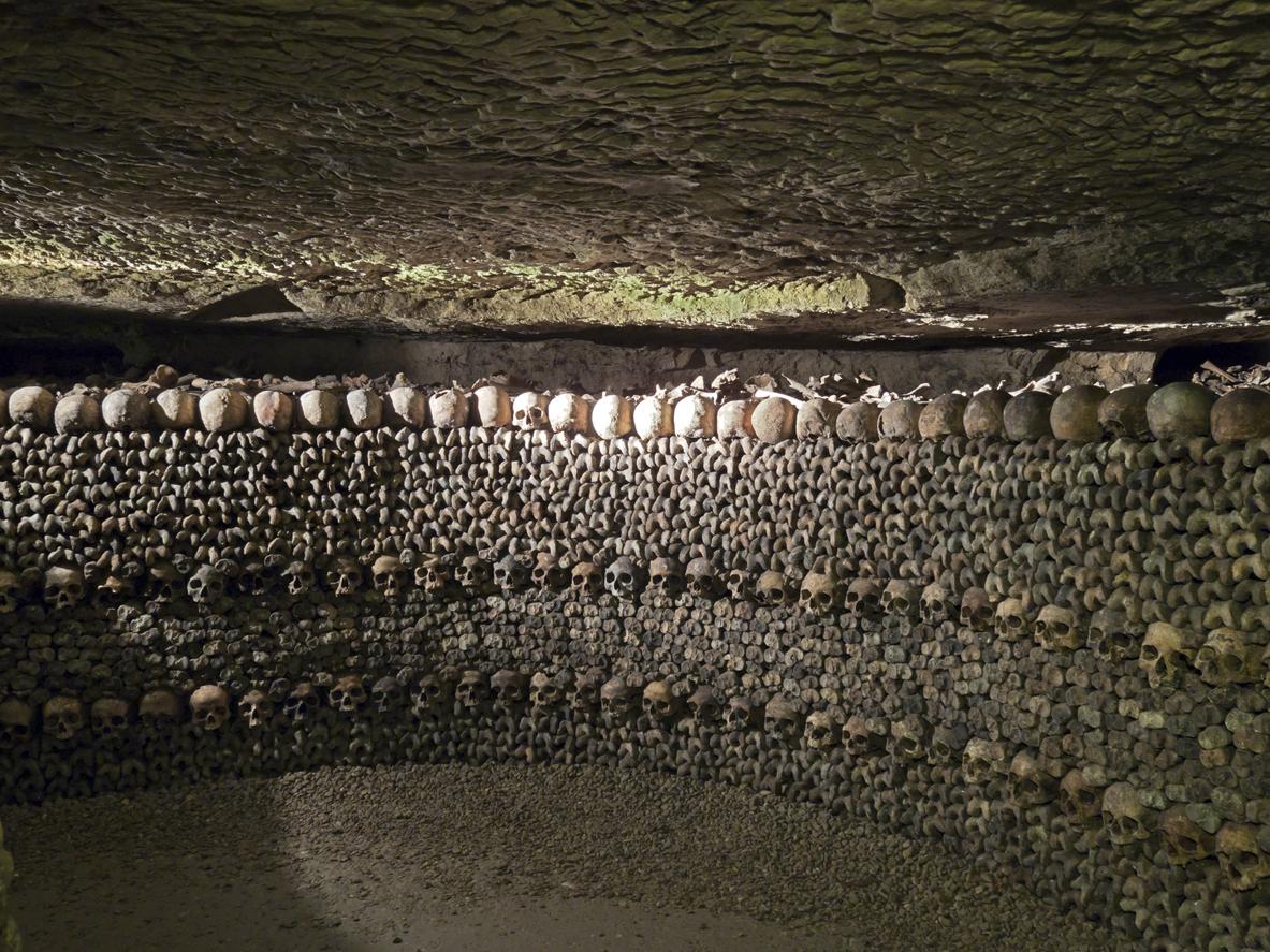 Катакомбите се появили след протест на парижани против голямото гробище в града. Така всички кости и черепи били преместени тук.