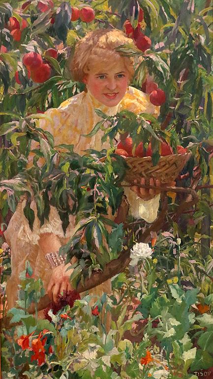Иван Тишов Хърватия Момиче сред праскови 1906г.
