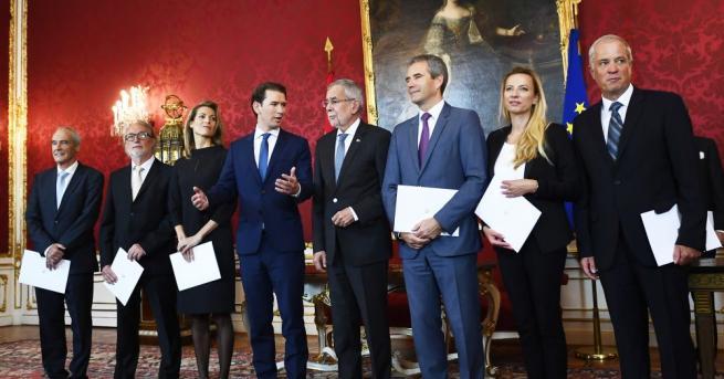 Новите министри от временното правителство на австрийския канцлер Себастиан Курц
