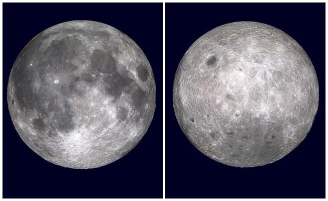 Близката и далечната страна на Луната.