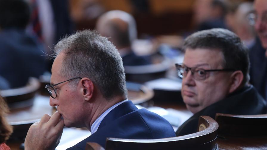 На снимката: Сотир Цацаров, Лозар Панов