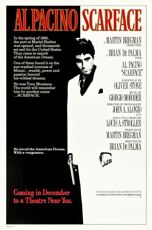 <p>Scarface / &bdquo;Белязаният&ldquo; &ndash; 1983; Режисьор: Брайън Де Палма; Сценарист: Оливър Стоун; Участват: Ал Пачино, Мишел Пфайфър, Стивън Бауър</p>