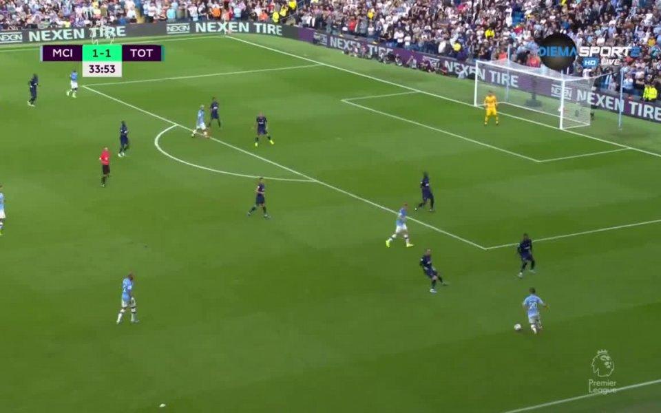 Манчестър Сити води с 2:1 на Тотнъм след първото полувреме