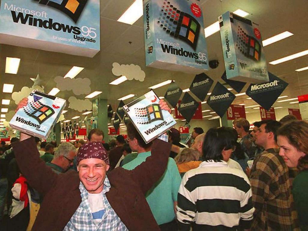 <p>Среднощни продажби на Windows 95 в Сидни, Австралия.</p>