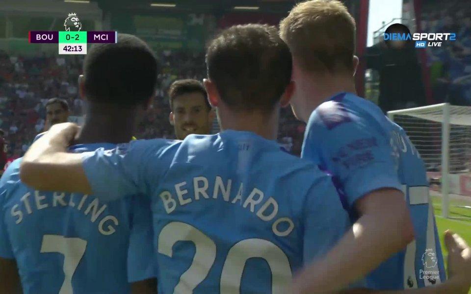 Манчестър Сити вече води с 2:0 на Борнемут, след като
