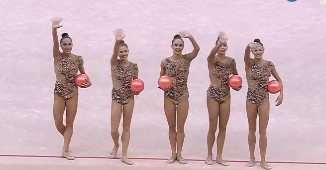 Българският ансамбъл по художествена гимнастика в състав Симона Дянкова, Лаура