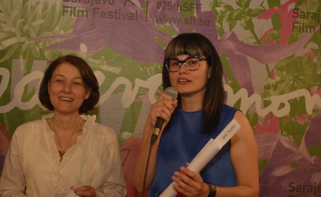Катя Тричкова с режисьора Петя Накова на филмовия фестивал в Сараево