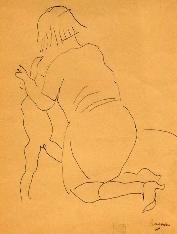 <p>Жул Паскин, Франция. Люси Крог къпе своя син Ги, туш</p>