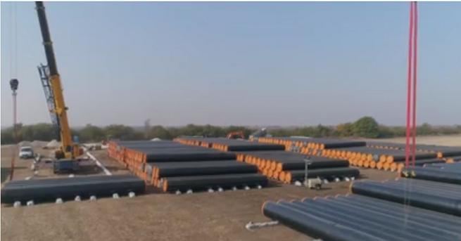 Първи видео кадри от строителните дейности на разширението на газопреносната