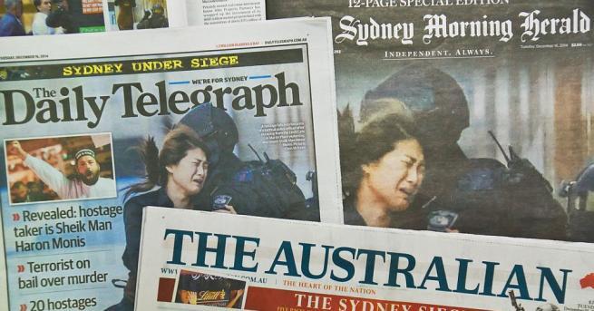Вестниците в Австралия излязоха с почернени първи страници. Конкурентните издания