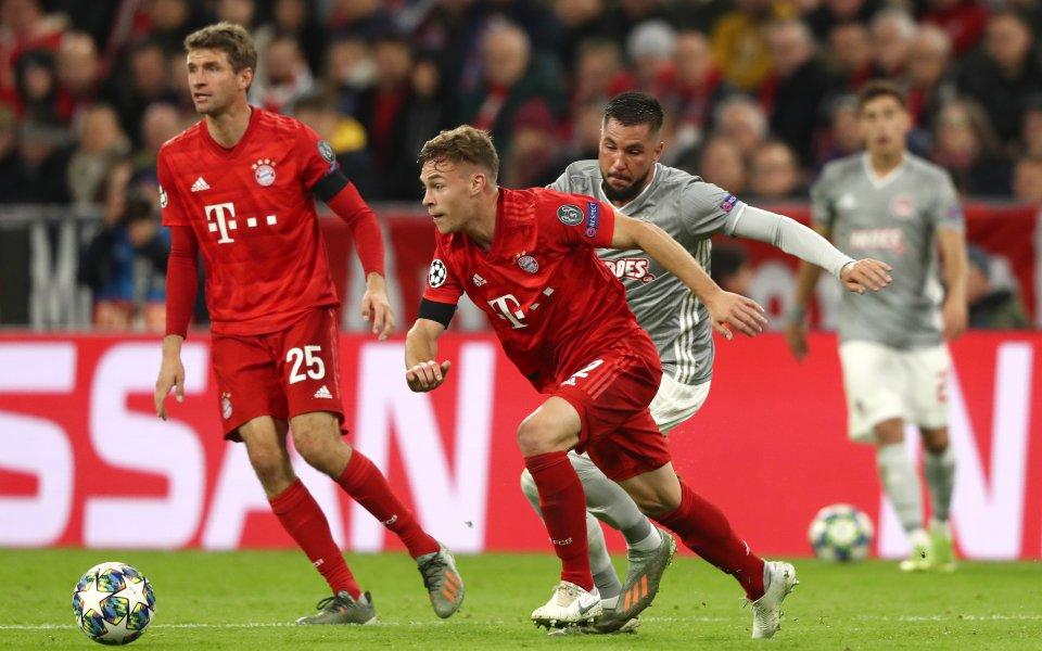 Отборите на Байерн Мюнхен и Олимпиакос играят при резултат 0:0