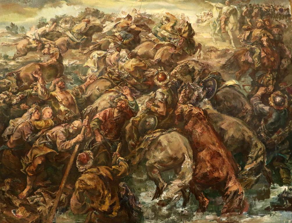 <p>Аспарух преминава Дунава</p>  <p>Изложбата &bdquo;Художник на героични образи&ldquo; е посветена на 100 години от рождението на проф. Симеон Халачев (1919-1986 г.)</p>