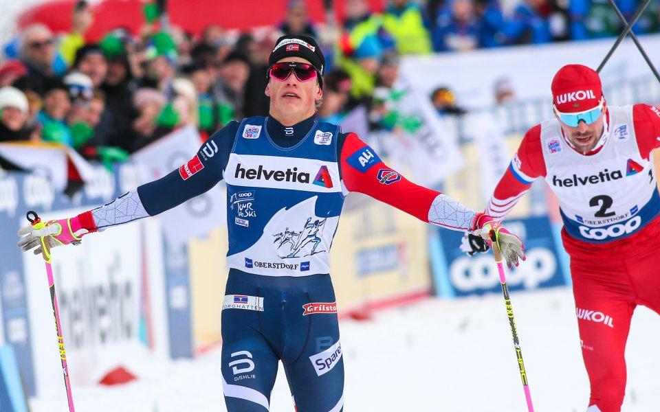 Йоханес Клаебо спечели масовия старт във Вал ди Фиеме и запази шансове за триумф в Тур дьо ски