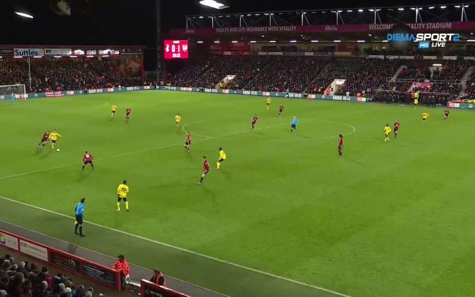 Арсенал поведе с 2:0 при гостуването на Борнемут от 4-тия