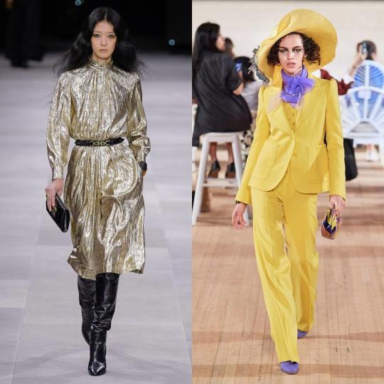 <p><strong>Завръщането на 70-те</strong></p>  <p>Костюми с прави панталони, миди рокли с колан на кръста, набрани ботуши, ризи с жабо и други дрехи, характерни за модата от 70-те години на миналия век, се завръщат като част от облеклото или като цялостен стайлинг. Преминали през погледа и ръцете на дизайнерите, изглеждат модерни по нов начин.</p>  <p><em>Celine, Marc Jacobs</em></p>