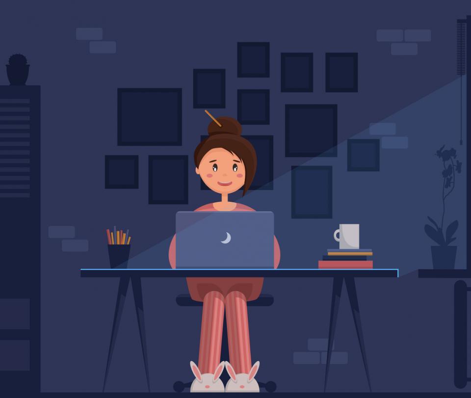 жена лаптоп