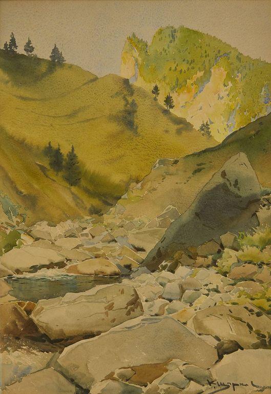 <p>Константин Щъркелов (1889&ndash;1961) Пейзаж от Тетевен (Тетевенски балкан), 30-те години на ХХ в. акварел върху картон</p>