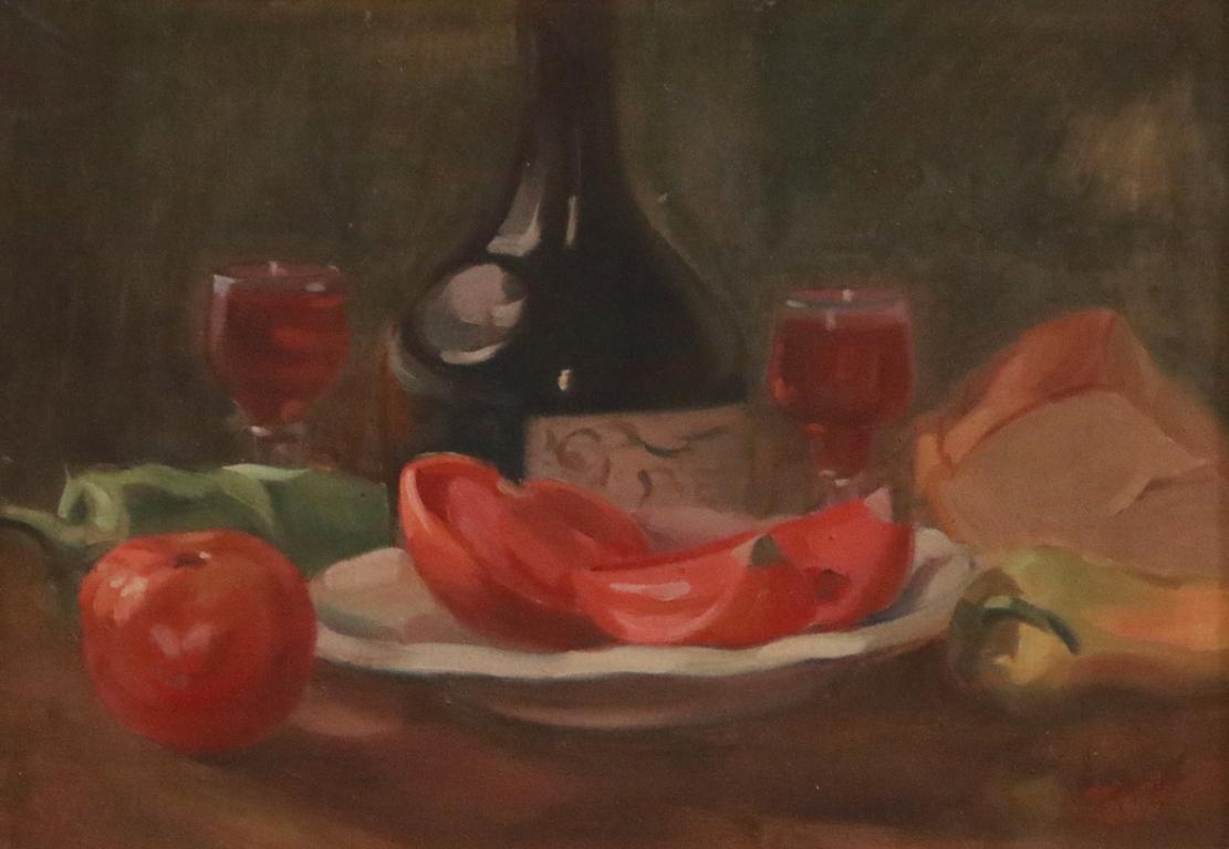 <p>Натюрморт с домати и вино</p>  <p>Толкова обхватно наследството на този очарователен забравен автор обаче е запазено благодарение на г-н Красимир Дачев, един от забележителните колекционери у нас, искрен любител на неговото изкуство.</p>
