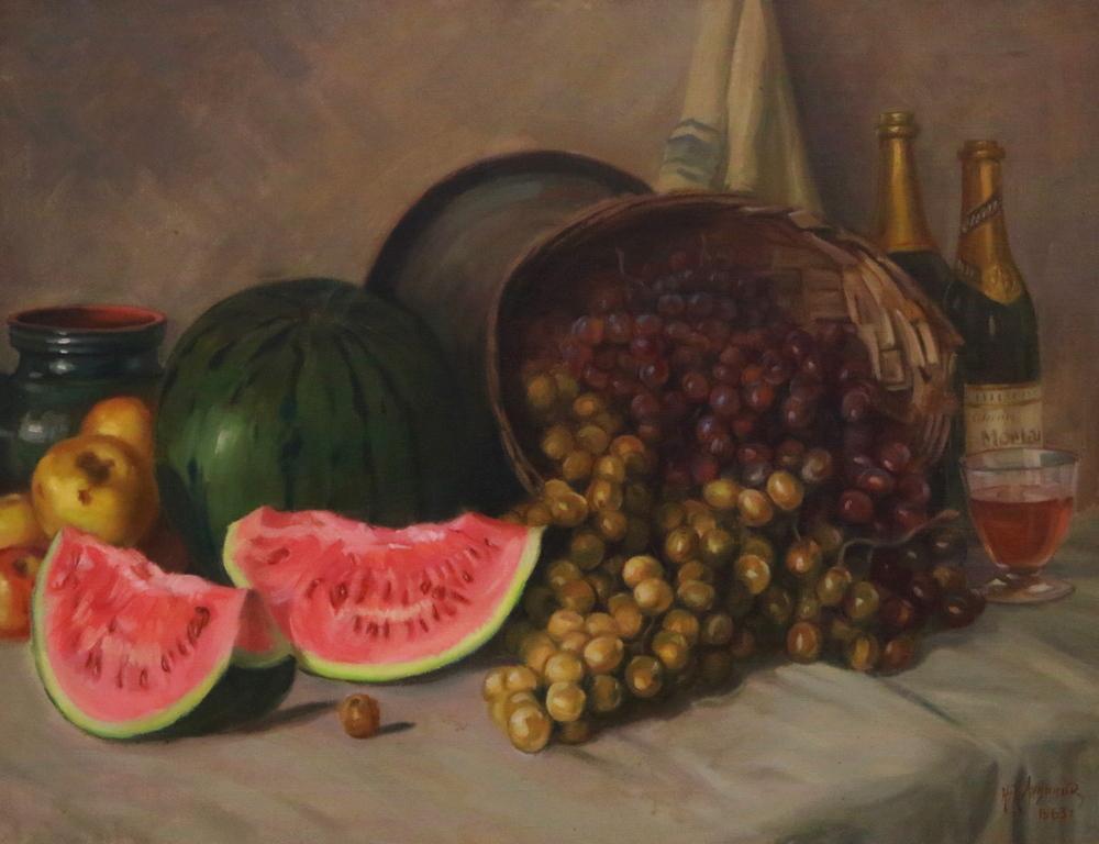 <p>Натюрморт с диня, грозде и вино</p>