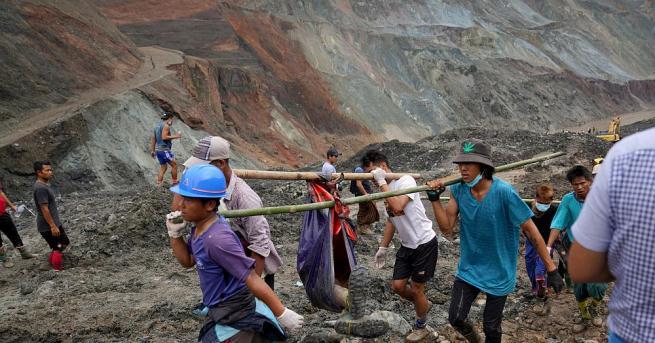 Телата на най-малко 113 миньори от нефритена мина в Мианмар
