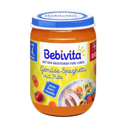 Пюре Bebivita, Спагети,зеленчуци и пуешко, 190g