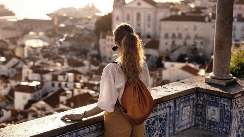 жена пътуване пътешествие залез гледка