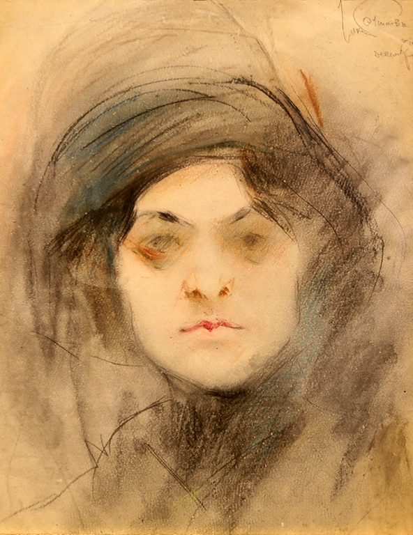 <p>Александър Божинов (1878 &ndash; 1968)</p>  <p>Г-ца X. Y., декември 1911 молив, пастел, хартия</p>
