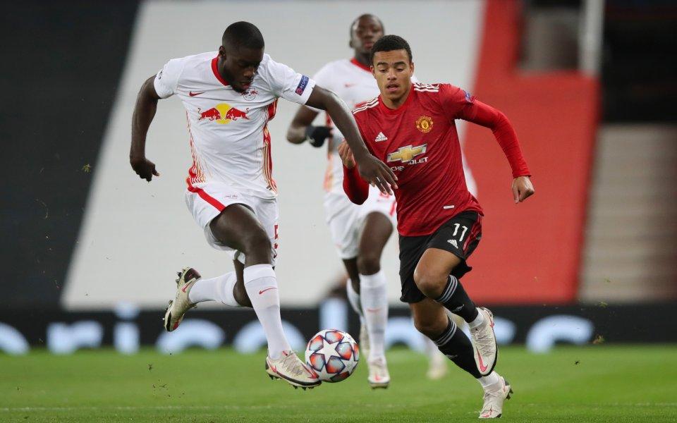 Манчестър Юнайтед и РБ Лайпциг играят при резултат 1:0 в