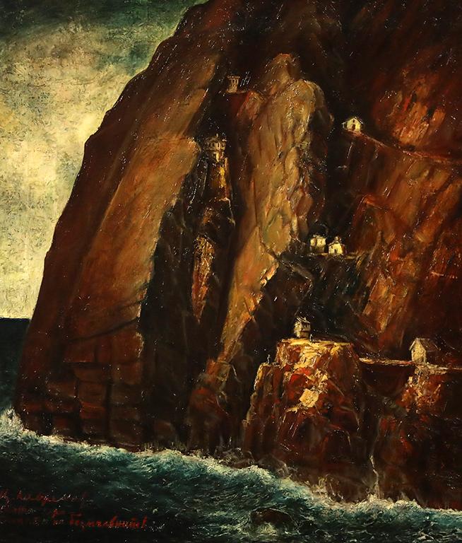 <p>Цанко Лавренов (1896-1978), Скалата на безмълвниците в Света гора, 1939 г., маслени бои, платно</p>  <p>&nbsp;</p>