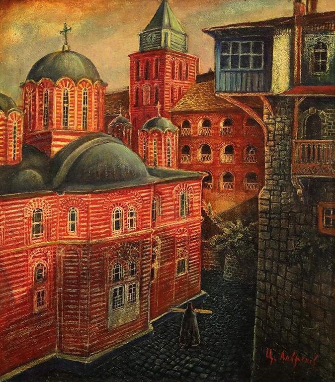 <p>Цанко Лавренов (1896-1978), Църквата на манастира Зограф в Света гора, 1943 г., маслени бои, платно, шперплат</p>