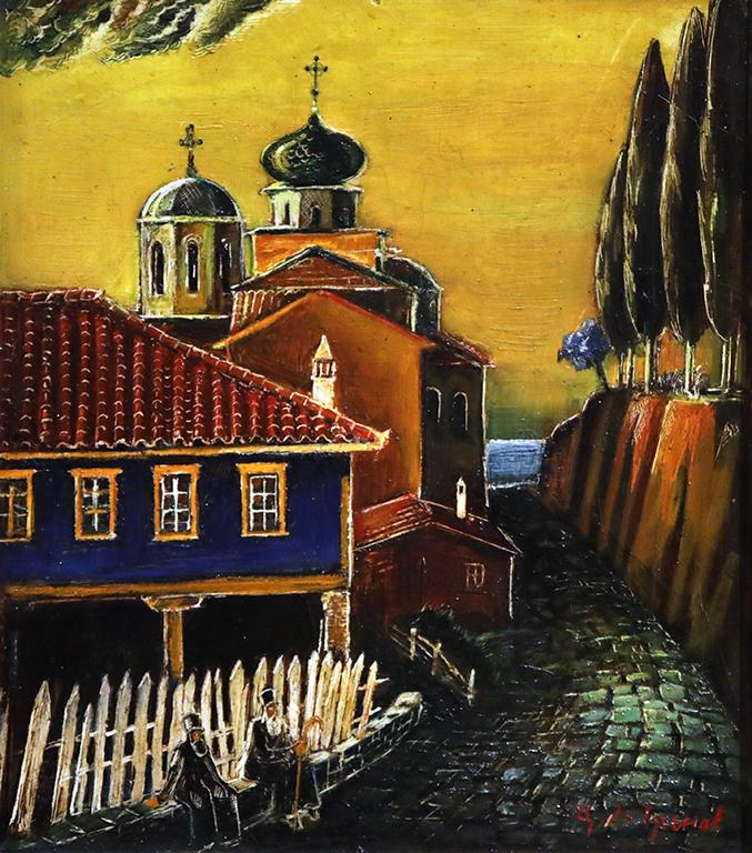 <p>Цанко Лавренов (1896-1978), Манастирът &quot;Св. Панталеймон&quot; в Света гора, 40-те години на XX в., маслени бои, платно, шперплат</p>
