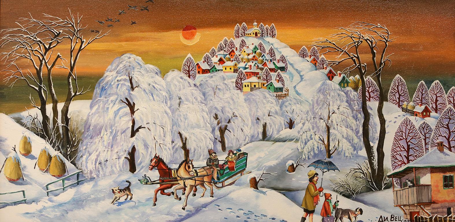<p>Зима разходка, маслени бои, платно</p>