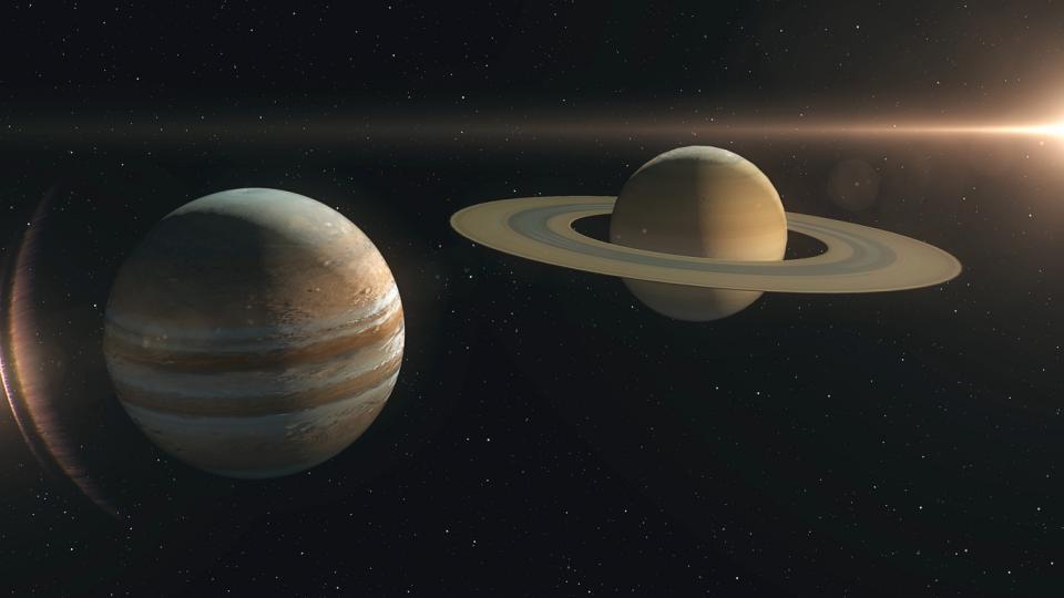 Юпитер Сатурн планети космос съвпад съединение астрология