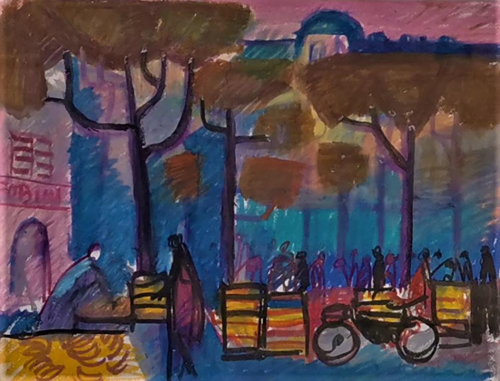 <p>Александър Петров, Париж - пазар, м. пастел/хартия</p>