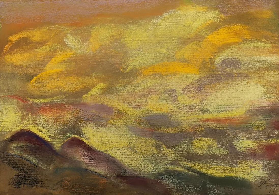 <p>Калина Тасва, Светъл пейзаж, пастел/платно</p>