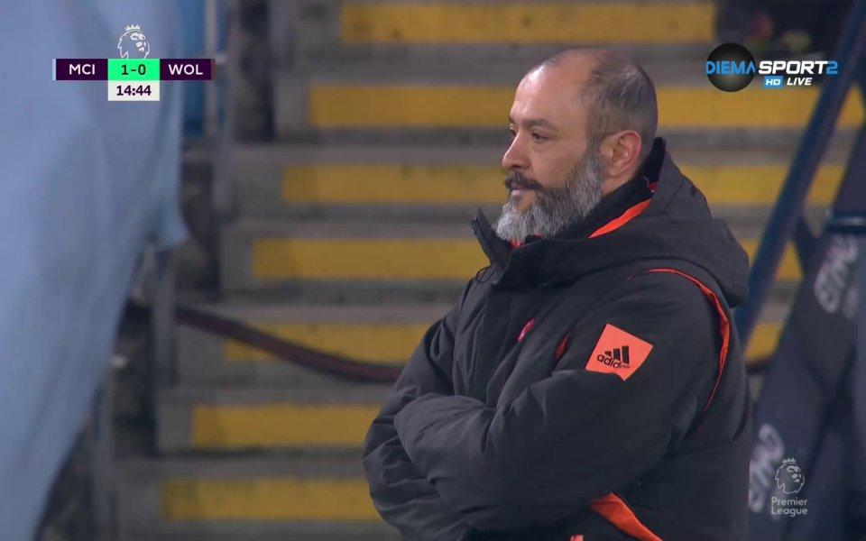 Манчестър Сити и Уулвърхемптън се оттеглиха на почивката при 1:0